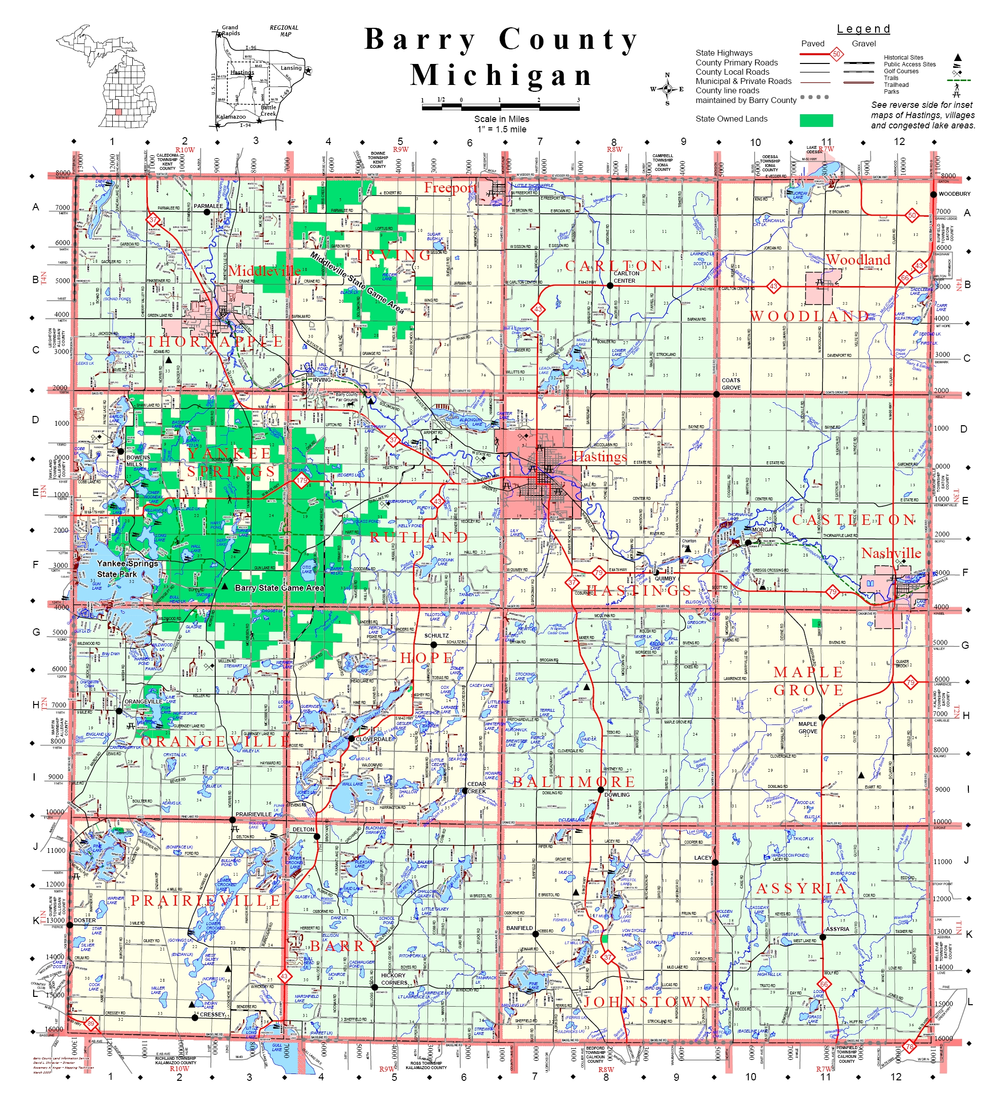 Barry County Map Barry County Road Commission - County map of michigan with cities